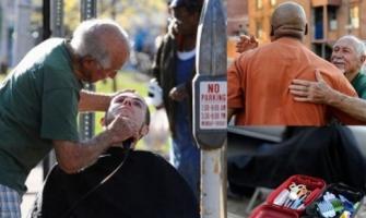 Anthony Cymerys, 'Uncle Joe', el barbero de 82 años que corta el cabello a cambio de abrazos